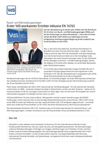 Pressebericht: Erster VdS-anerkannter Errichter inklusive EN 16763
