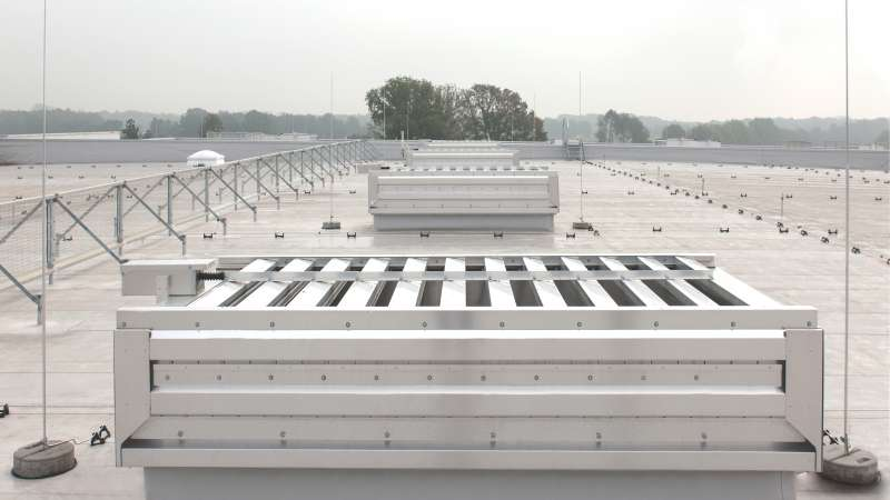 Schumacher-Gruppe   Greven • Hydra labyrinth ventilator and Lyra louvered ventilator with sound traps. Also with 255 m2 continuous rooflight and smoke and heat exhaust devices