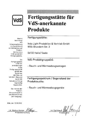 VdS / Zulassung für Brandschutz und Sicherheitstechnik