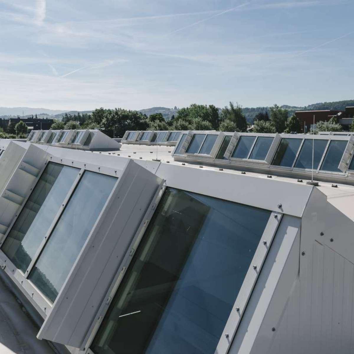 Endress+Hauser GmbH+Co. KG | Maulburg • Shedline glass rooflight, 6 units - each 14 m x 2 m, 24NSHEV flaps